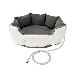 White and Grey Heated Pet Beds