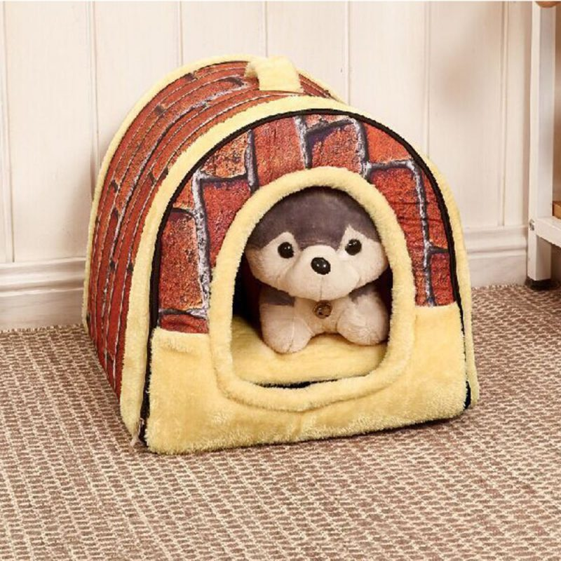 Cozy Self Warming Covered Pet Beds Shelter - Brick