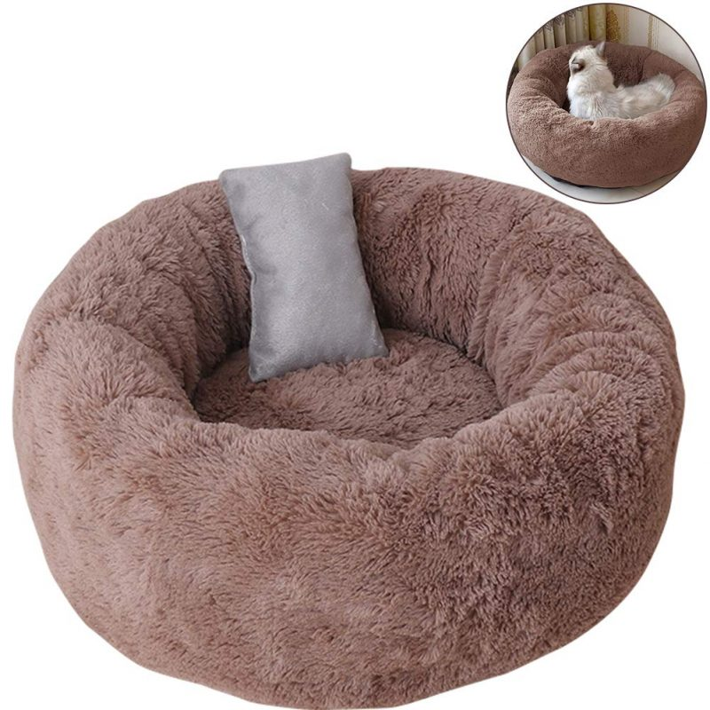 Pet Bed Cats Small Dogs Round Donut Pillow Cuddler Self-Warming Plush
